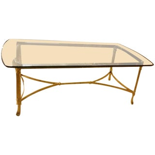 Hollywood Regency Italian Brass & Glass Coffee Table For Sale
