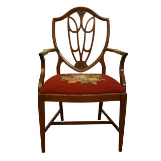1960's Vintage Antique Mahogany Duncan Phyfe Shield Back Dining Arm Chair For Sale