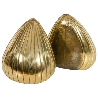 "Ben Seibel for Jenfredware ""Clam"" Brass Bookends"