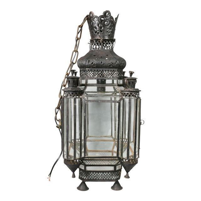 Black Moroccan Black Painted Tole Hall Lantern For Sale - Image 8 of 11