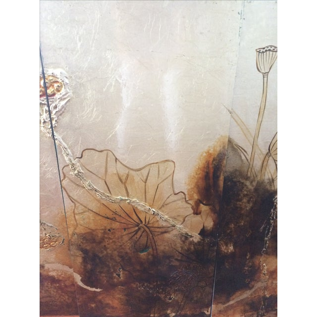 Vintage Asian Lacquer Four Panel Art - Image 6 of 7