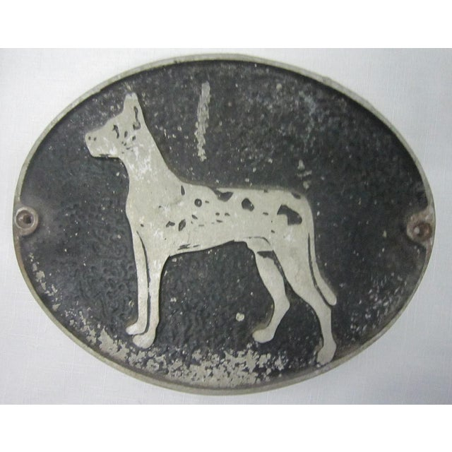 Charming vintage iron wall plaque with a Great Dane embossed on the design. Black against a steel grey background, there...