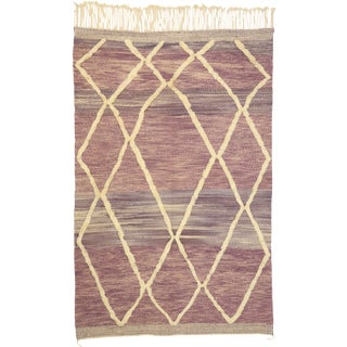 "Moroccan Souf Kilim Hanbel Rug With Raised Pattern - 07' X 10'8"" For Sale"