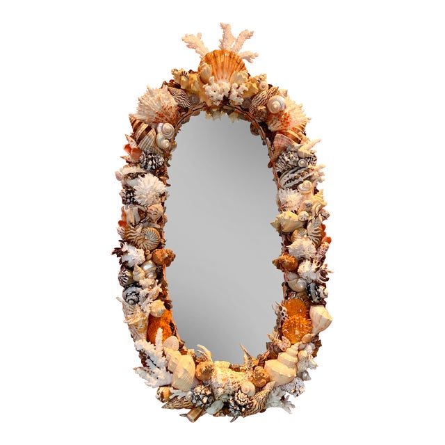 Oval Seashell Encrusted Wall Mirror For Sale