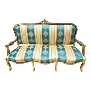 Vintage French Louis XV Style Gold Leaf Gilt Open Arm Sofa For Sale