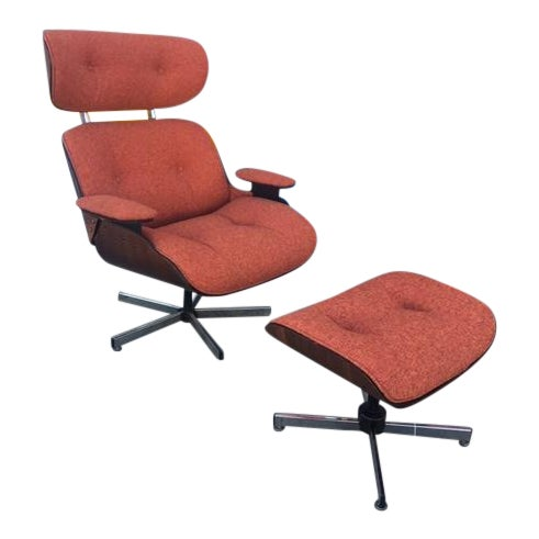 Mid-Century Lounge Chair & Ottoman - Image 1 of 5
