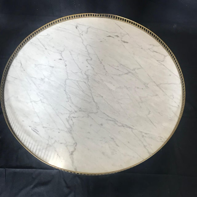French Louis XVI Style Marble Top and Walnut Bouillotte Side Table For Sale - Image 12 of 13
