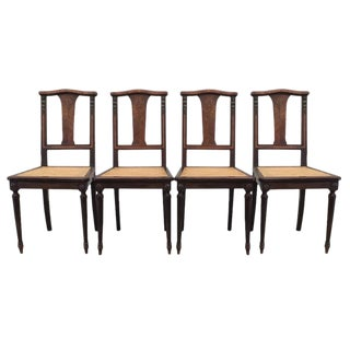 Antique French Dining Chairs With Cane Seats - Set of 4 For Sale