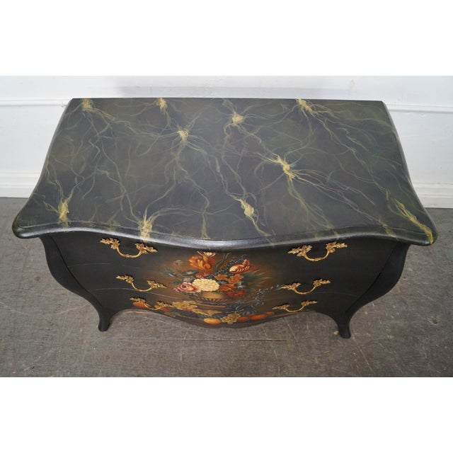 Maitland Smith Louis Xv Style Hand Painted Bombe Chest Of