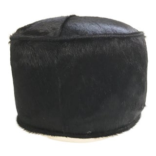 Forsyth One of a Kind Black Brazilian Cowhide Pouf Ottoman