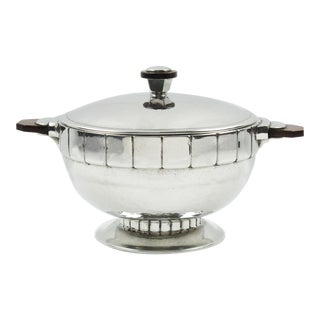 Swiss Art Deco Pewter Tureen Covered Dish Centerpiece For Sale