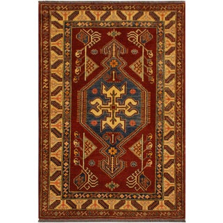 Super Kazak Garish Lorine Rust/Tan Wool Rug - 4'0 X 5'5