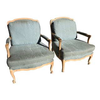 Vintage French Louis XV Style Bergere Chairs - a Pair For Sale