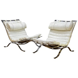 Pair of Vintage Midcentury Arne Norell White Leather Ari Lounge Chairs, Sweden For Sale