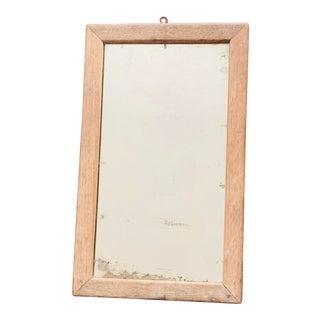 Antique Solid Weathered Oak Framed Decretive Mirror For Sale