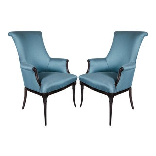 Elegant Pair of Hollywood Regency Scroll Back Armchairs by Grosfeld House For Sale