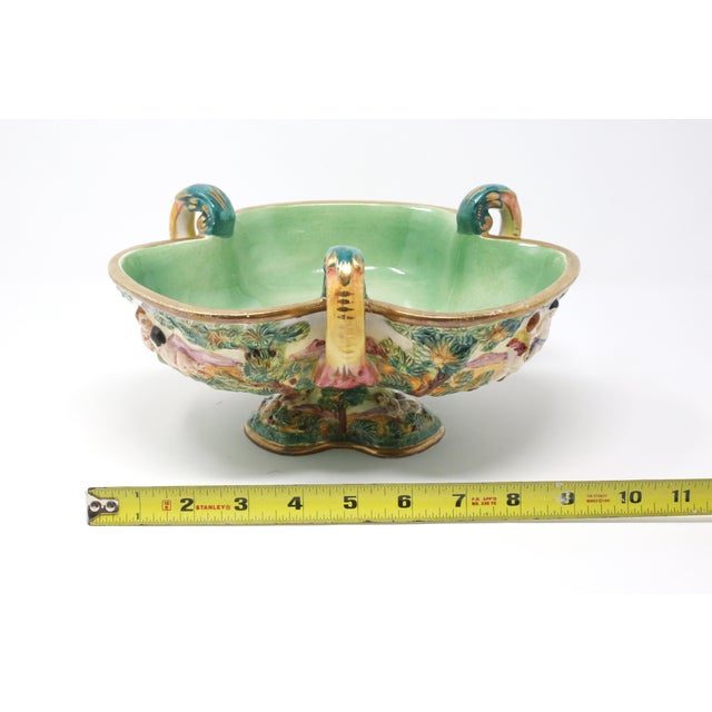Vintage Italian Capodimonte Clover-Shaped Footed Bowl For Sale - Image 12 of 13
