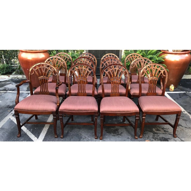 Wood Set of 12 Maitland-Smith Georgian Mahogany Dining Chairs For Sale - Image 7 of 11