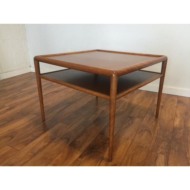 Widdicomb walnut square end, corner or cocktail/coffee table with shelf, date stamped 08-56. This piece is model 1781 in...