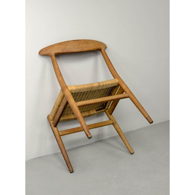 Mid-Century Oakwood and Woven Cane Side Chair W2 by Hans J. Wegner for c.m. Madsen, 1953 For Sale - Image 10 of 11