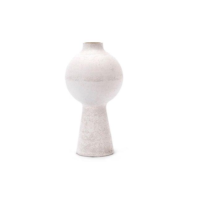 2010s Organic Modern White Crackled Finish Handbuilt Stoneware Orb Vase For Sale - Image 5 of 5