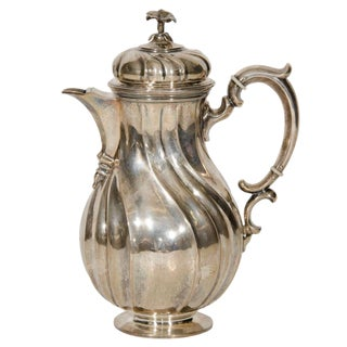 Silvered Metal Coffee Pot For Sale