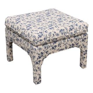 Blue & White Parsons Style Ottoman