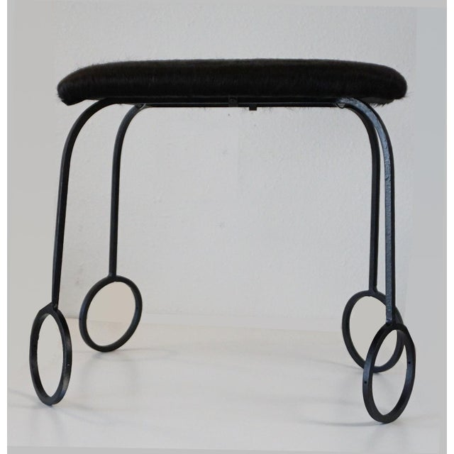 Memphis Cowhide and Iron Stools For Sale - Image 3 of 6