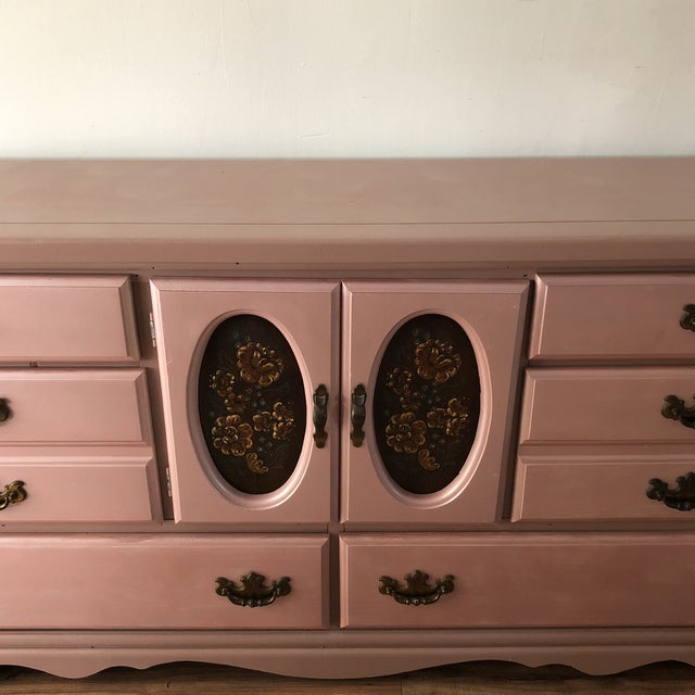 Chippendale Vintage Pink Victorian Style Dresser For Sale - Image 3 of 12