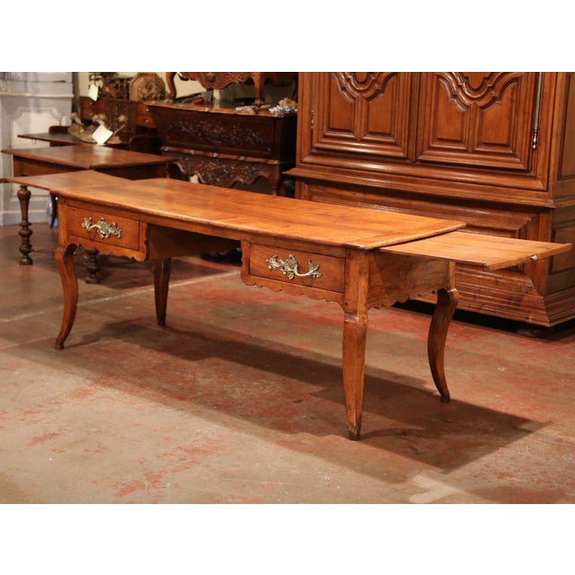Metal 18th Century French Louis XV Carved Cherry Desk With Drawers and Pullout Trays For Sale - Image 7 of 13