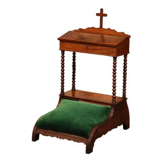 19th Century French Louis Philippe Carved Walnut and Velvet Prayer Chair For Sale