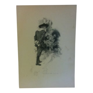 """Vintage Miles Standish Print, """"Walk to Trail"""" by Howard Christy - 1903 For Sale"""