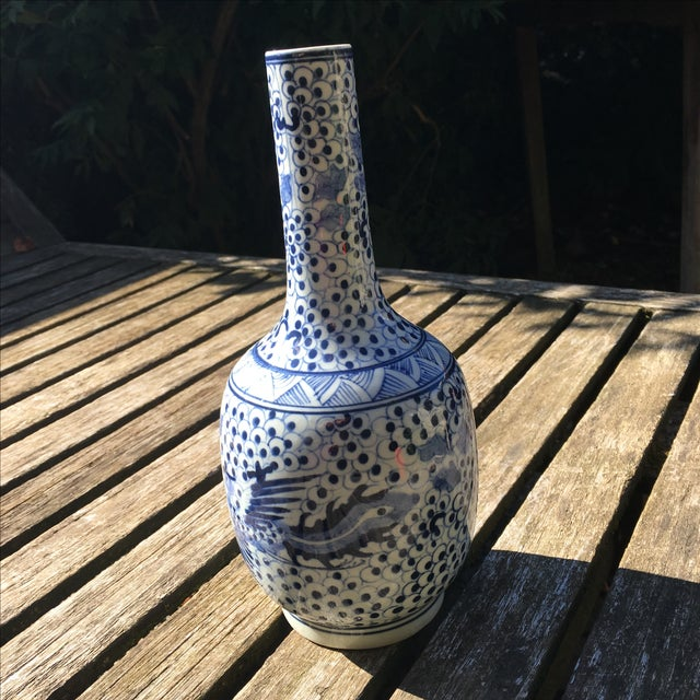 Vintage Blue and White Chinoiserie Vase - Image 4 of 6