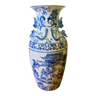 "25"" Large Asian Shogun Chinese Blue and White Porcelain Urn For Sale"