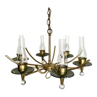 Vintage Mid-Century 6 Light Brass, Glass & Lucite Chandelier For Sale