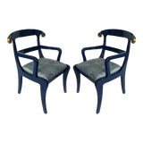 Image of Klismos Ram's Horn Lacquered Arm Chairs- a Pair For Sale