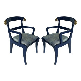 Klismos Ram's Horn Lacquered Arm Chairs- a Pair For Sale