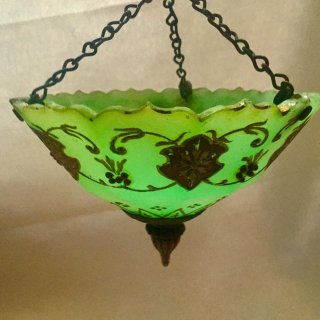 Moroccan Gilted Jadeite Glass Hanging Votive - Image 3 of 8