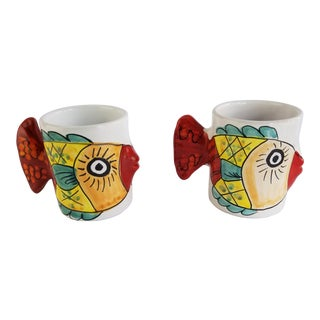 Vietri Desuir Italian Hand Painted Blue Tail Handle Fish Mug Cups - Set of 2 For Sale