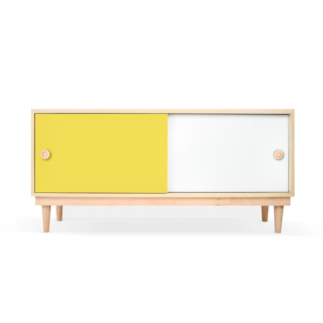 Contemporary Lukka Modern Kids Credenza Console in Maple With Yellow Finish For Sale - Image 3 of 3
