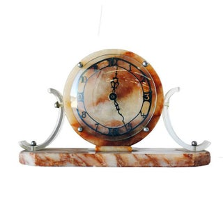 Mid-Century Acrylic and Marble Modernist Mantel Clock For Sale