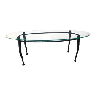 1980s Southwestern Glass Top Coffee Table For Sale