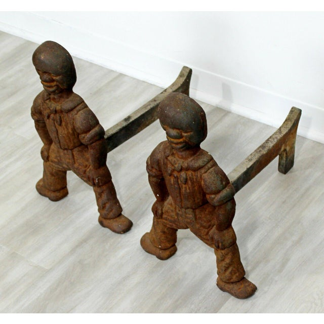 Antique Brutalist Iron African Art Male Figurine Fireplace Log Andirons - A Pair For Sale - Image 4 of 7