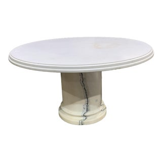 Art Nouveau Polished Round Solid Marble Table For Sale