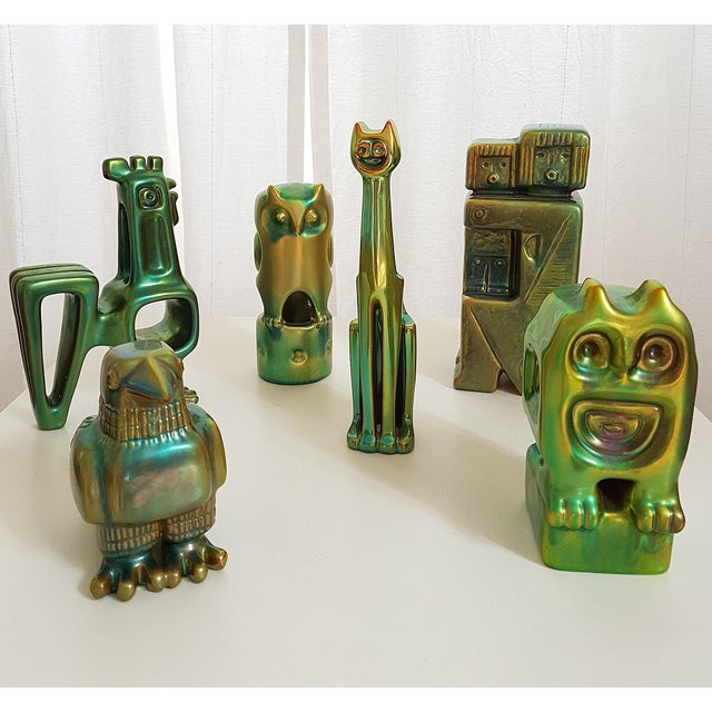 Set of Six Ceramic Eosin Figures by Zsolnay, With 1960s Stamps For Sale - Image 12 of 12