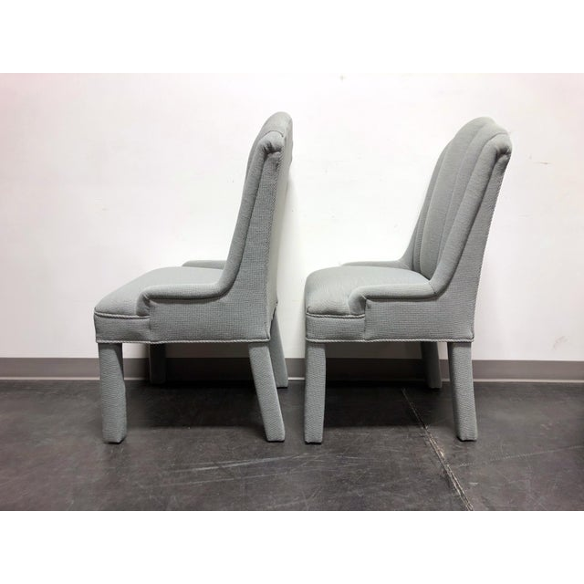 Wood High-End Grey Channel Back Parsons Chairs - Pair C For Sale - Image 7 of 12