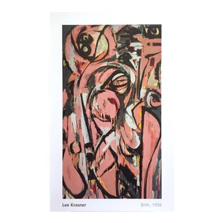 """Lee Krasner Foundation Abstract Expressionist Lithograph Print Poster """" Birth """" 1956"""