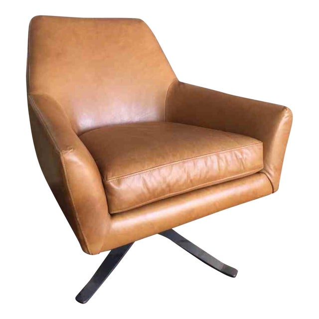 Mid Century Swivel Leather Chair - Image 1 of 3