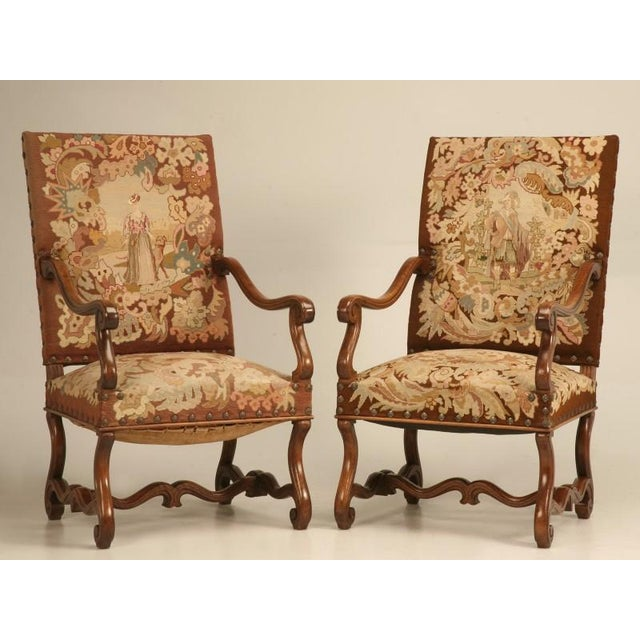 Striking pair of antique French walnut Louis XIII throne chairs with  exquisite needlepoint upholstery. Ready - Incredible Original Antique French Walnut & Needlepoint Throne