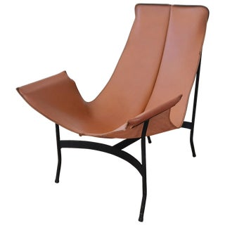 William Katavolos for Leathercrafter Leather and Iron Sling Chair For Sale